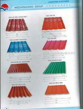 Various designs prefab house roofing color steel sheet for Color roof design