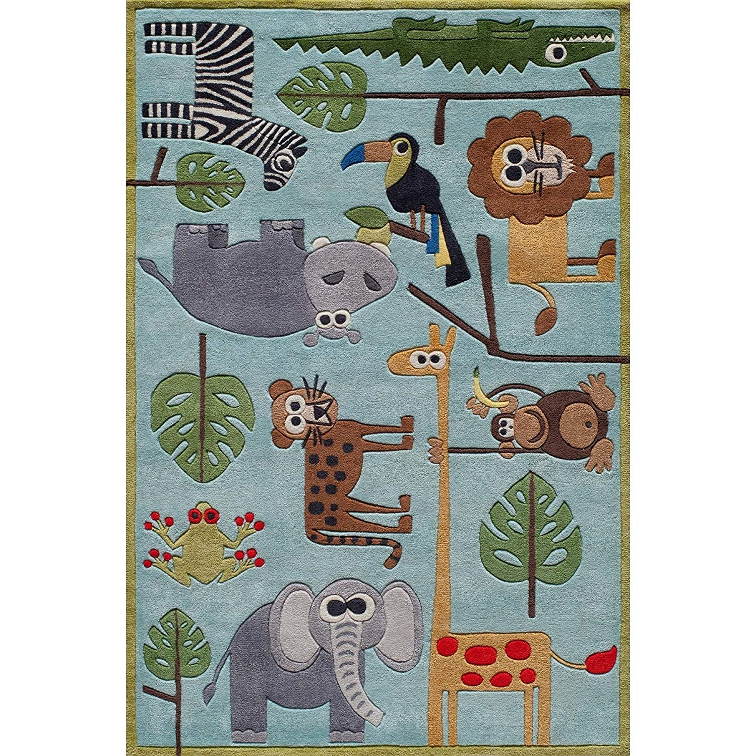 2 X 3 Kids Green Blue Safari Themed Area Rug Rectangle Indoor Red