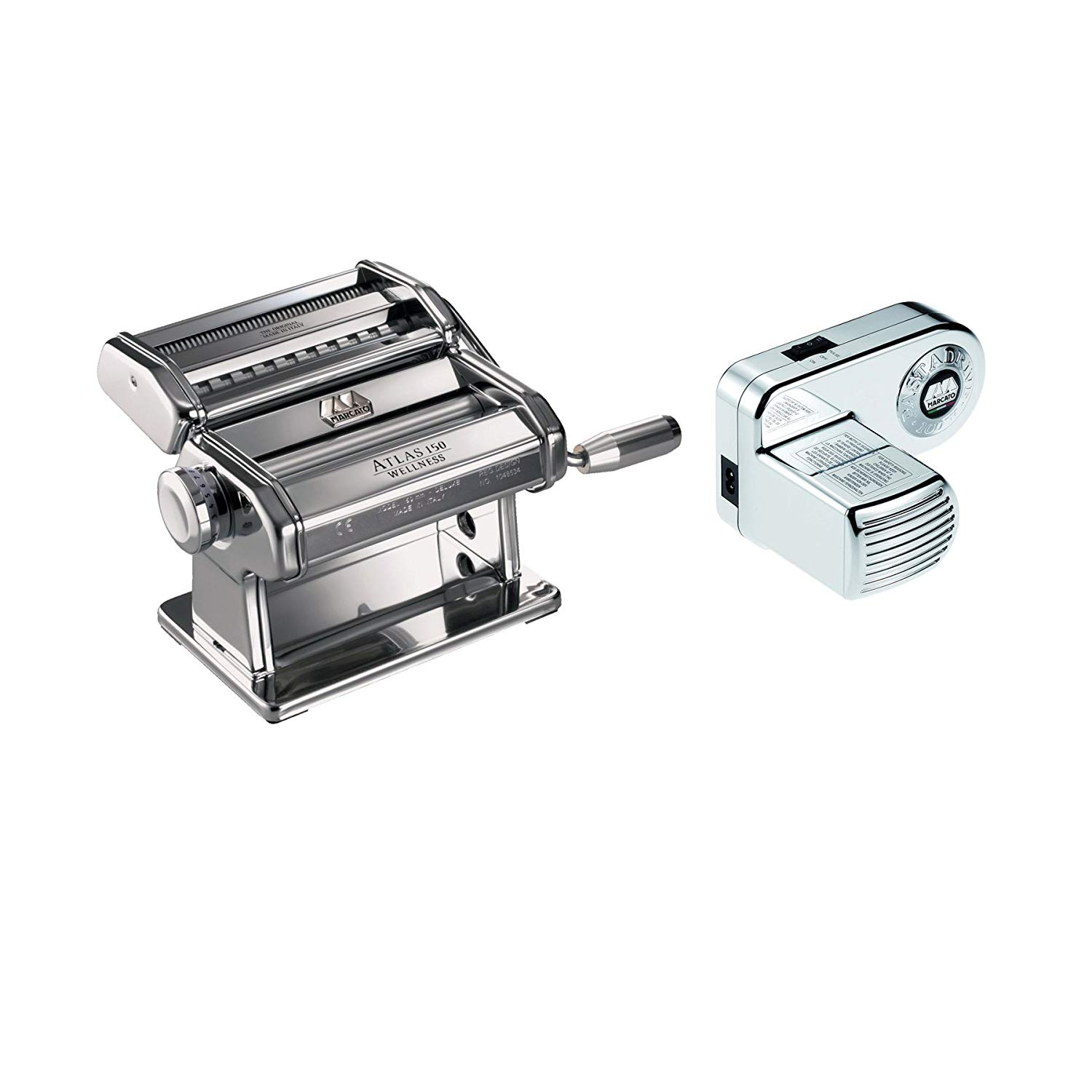 Marcato Atlas Hand Crank Pasta Machine Silver w/Pasta Cutter & Electric Motor Attachment
