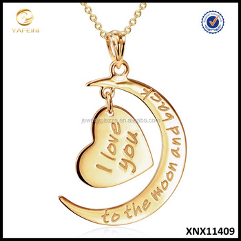 "14k Gold Jewelry Wholesale ""I Love You to the Moon and Back"" Pendant Necklace Moon And Heart Gold Jewelry"