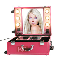 High Quality PVC makeup cases with lights and mirror, pink/black/blue colors available