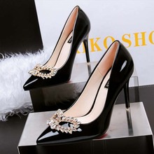SAA4957 Fashion pointy toe office ladies high heel pumps shoes with rhinestone