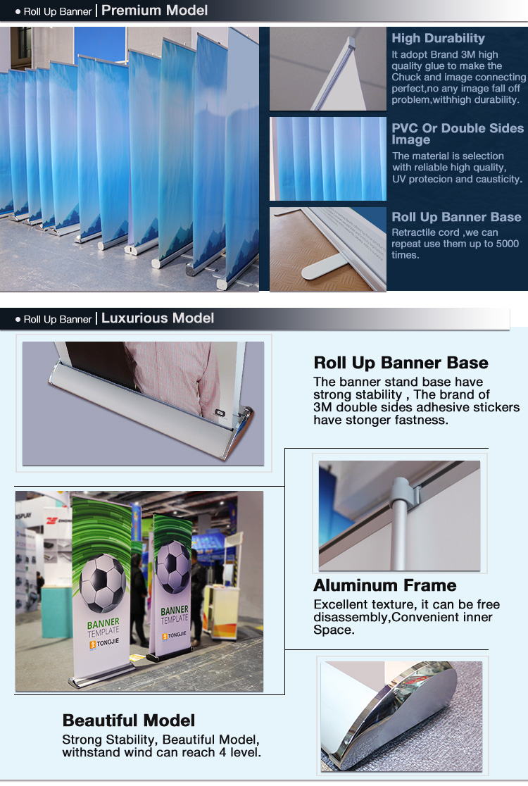advertising graphic pop up display stand indoor 85x200 cardboard roll up banner .