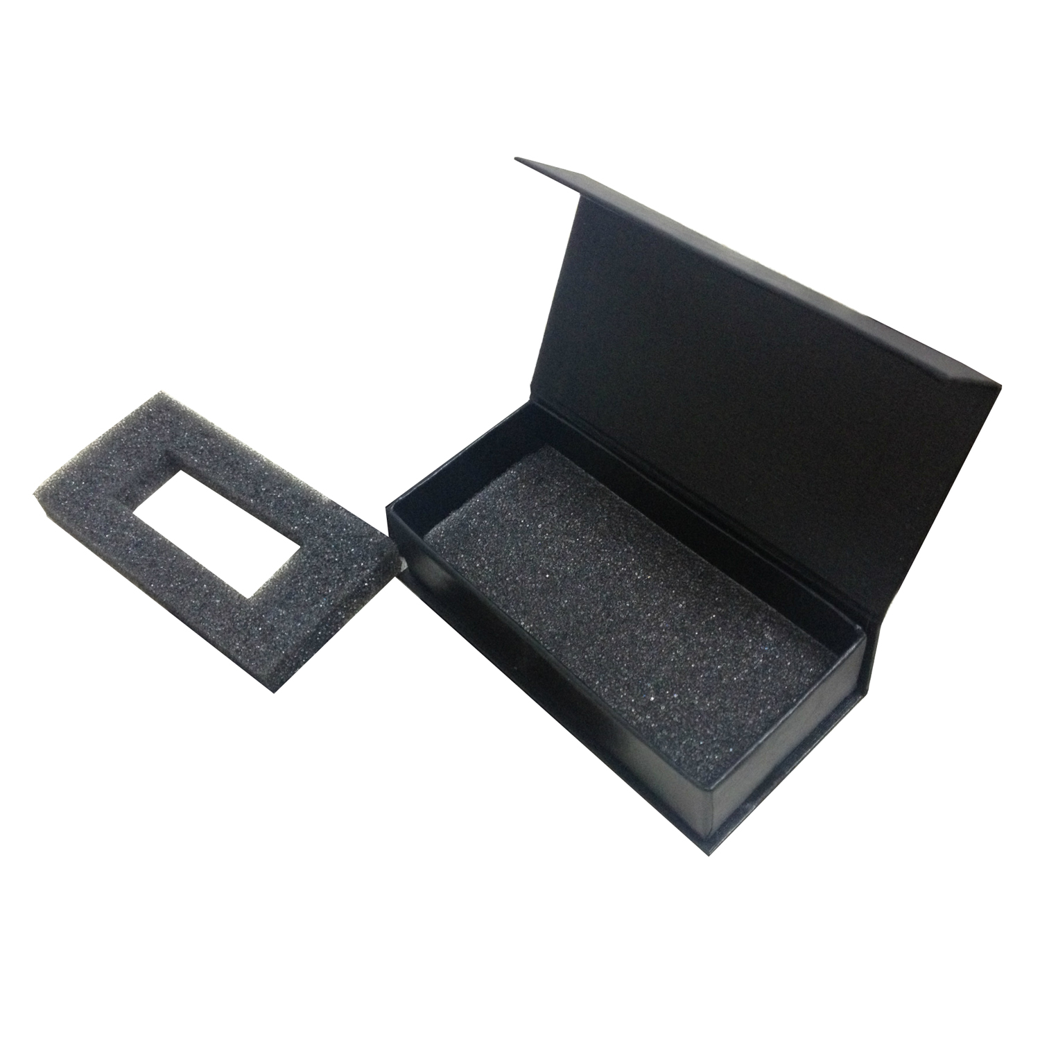 Eco Friendly Custom Black Paper Cardboard Magnet USB <strong>Box</strong> With Black Foam Insert