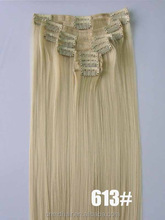 Vrouwen Volledige Hoofd Dames <span class=keywords><strong>Sexy</strong></span> Mode Grijs Blond Haar 12 Stks/set Clip In Hair Extensions