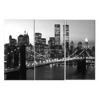 Black and white city night 3panels canvas prints picture