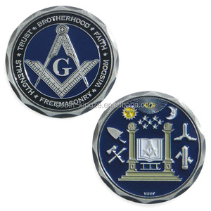 China factory professional design collectable memory metal embossed freemasons coin
