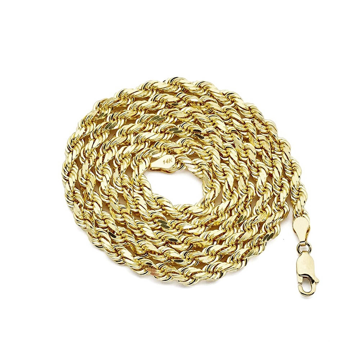 LOVEBLING 14K Yellow Gold 5mm Solid Diamond Cut Rope Chain Necklace with Lobster Lock