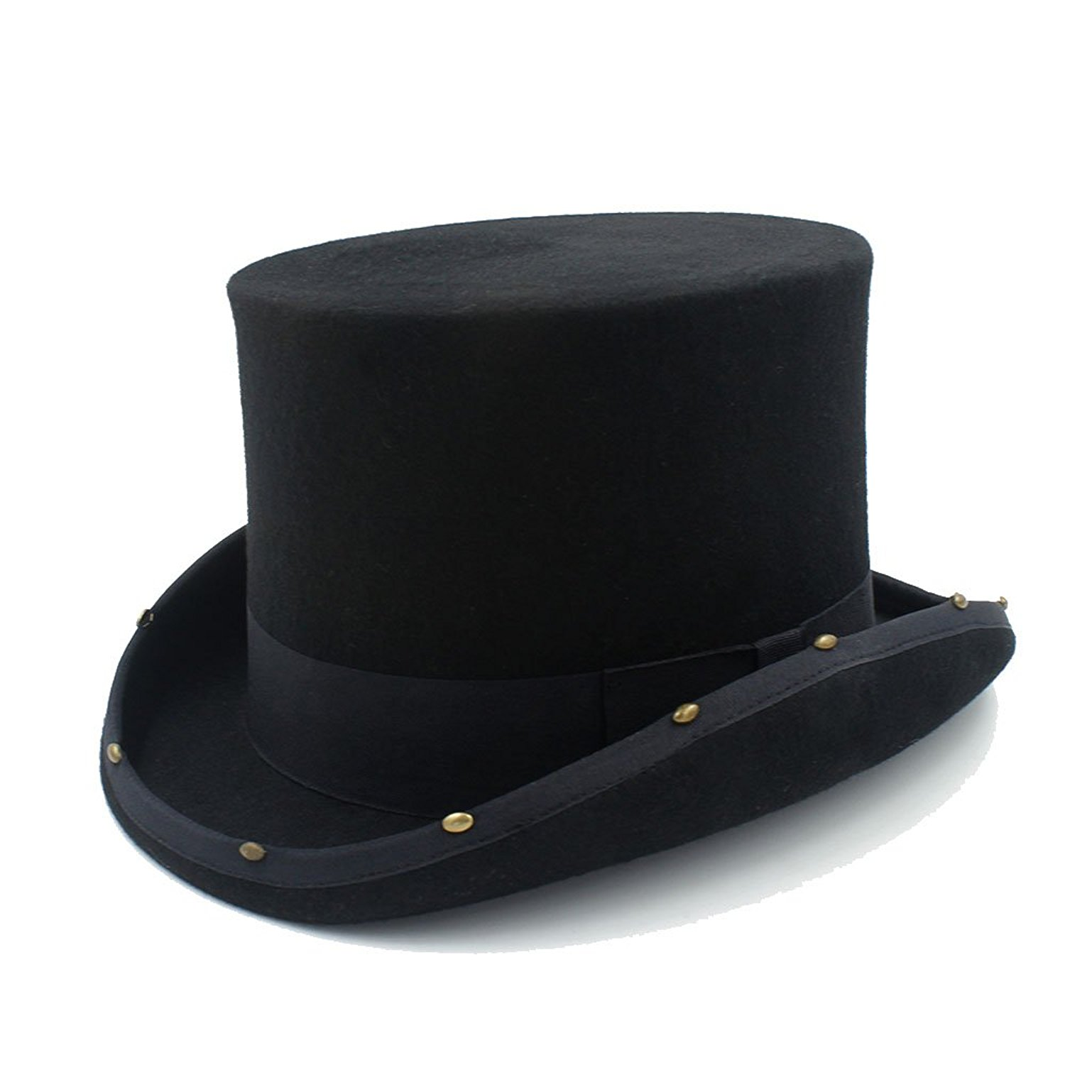 afeed3f2636a61 Get Quotations · CNBEAU 15CM Top Hat Steampunk Hat Handmade Rivet MAD  Hatter Vintage Women Men Traditional Wool Fedoras