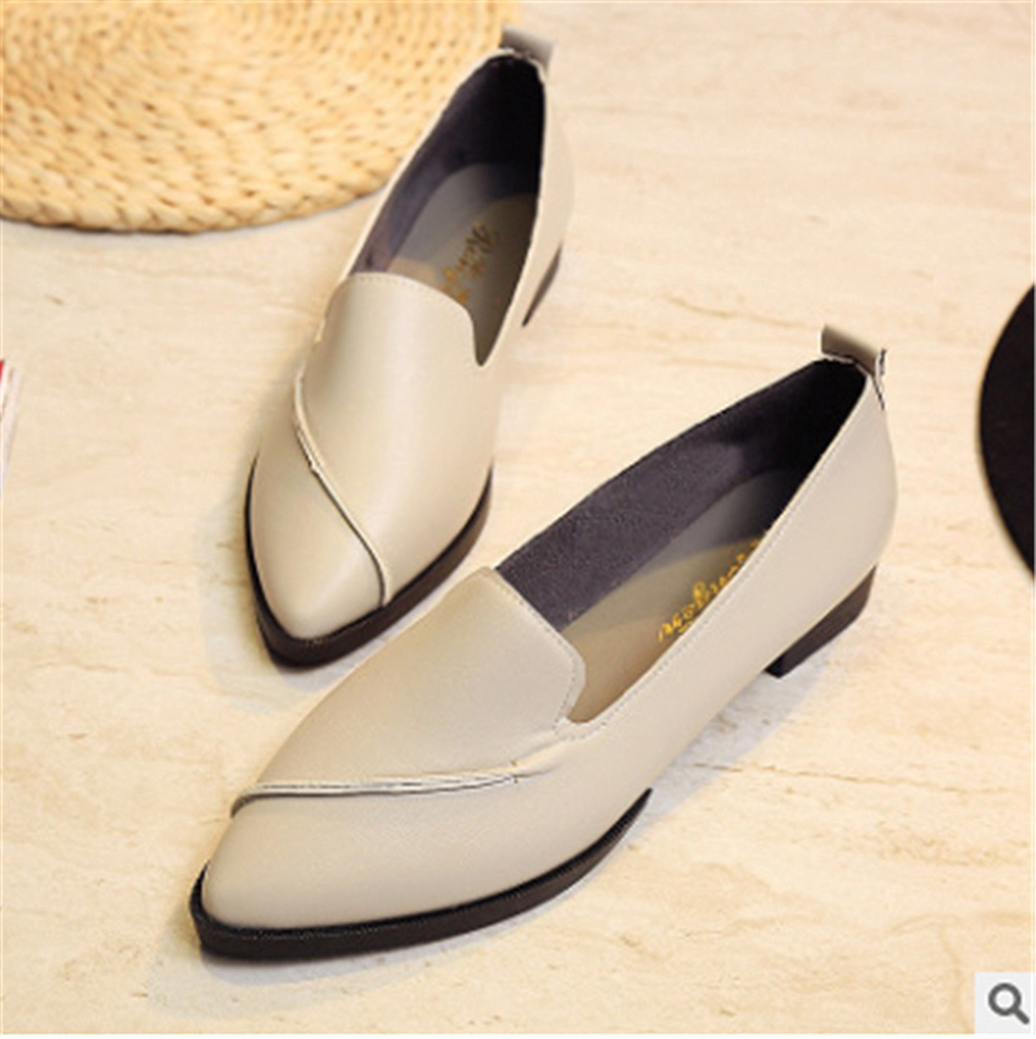 Feilongzaitianba Spring Women Flats Leather Pointed Toe Flats Woman Casual Shoes Oxfords With Sewing Flats Shoes B0007