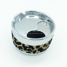 1 Piece New Arrival Woman Lady Exclusive Product Animal Fur Texture Sexy Leopard 10cm Round K9 Artificial Metal Cigar Ashtray