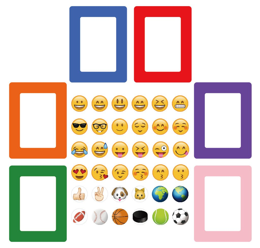 42-in-1 Emoji Magnetic Picture Frames for Refrigerator (6 Colorful Magnetic Picture Frames, and 36 Emoji Magnets)