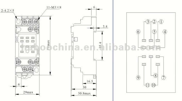 11 pins omron relay socket pyf11a untuk jh1806  my3aj  hh53p