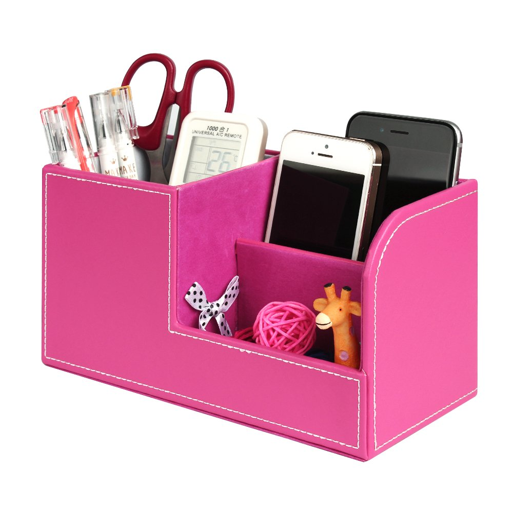 Leather Desk Organizer, Juliell Multi-function Desk Storage Box Stationery Organizer Pen, Pencil, Name Cards, Cell Phone, Key, Remote Control Holder for Home, Office, School (Small, Pink)