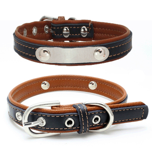 Really Cool Black Leather Engraved Iron Pet Collar Custom Dog Collars