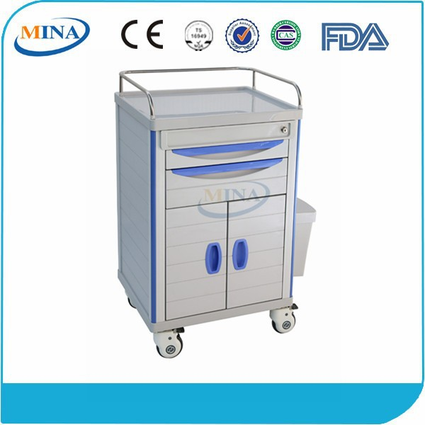 MINA-MT600C with 2 DRawers and Double Doors High-Strength ABS Treatment Medicine Trolley
