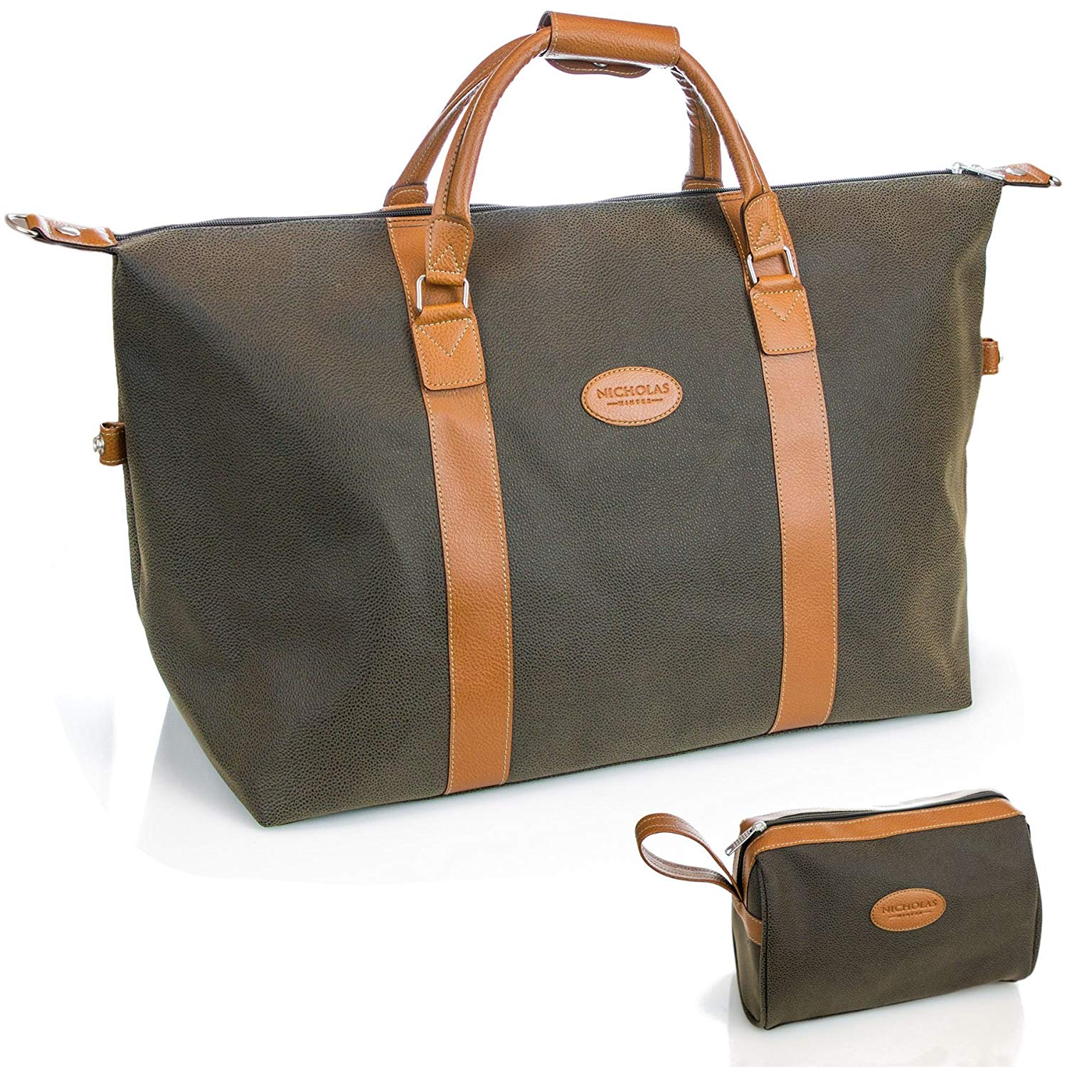Get Quotations · Nicholas Winter 60L Classic Men s Faux Leather Travel  Holdall   Wash Bag - Green 9778cb4a73