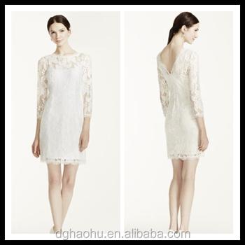 642deff28 Venta al por mayor 3 4 V manga corta novia última manera del vestido blanco