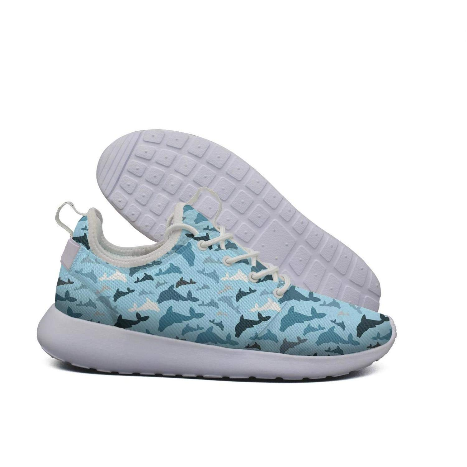 Hoohle Sports Womens Dolphin Beach Print Flex Mesh Roshe 2 Lightweight Breathable Cross-Trainer Shoes