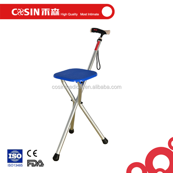 Folding Cane Chair 3 Legs Walking Sticks With Seat For Elderly