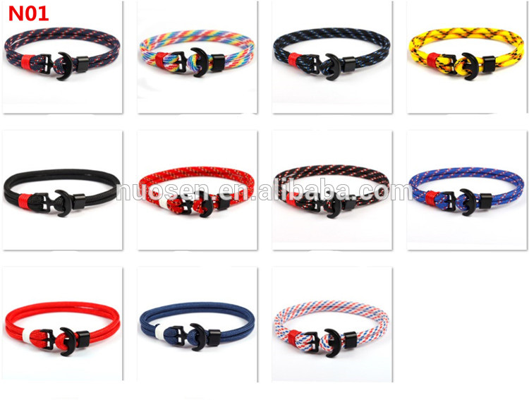 2019 Hot Sell Brown Leather Anchor Bracelet Men Various color for choose