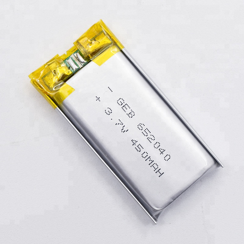 rechargeable lithium ion polymer battery 652040 3.7V 450mAh