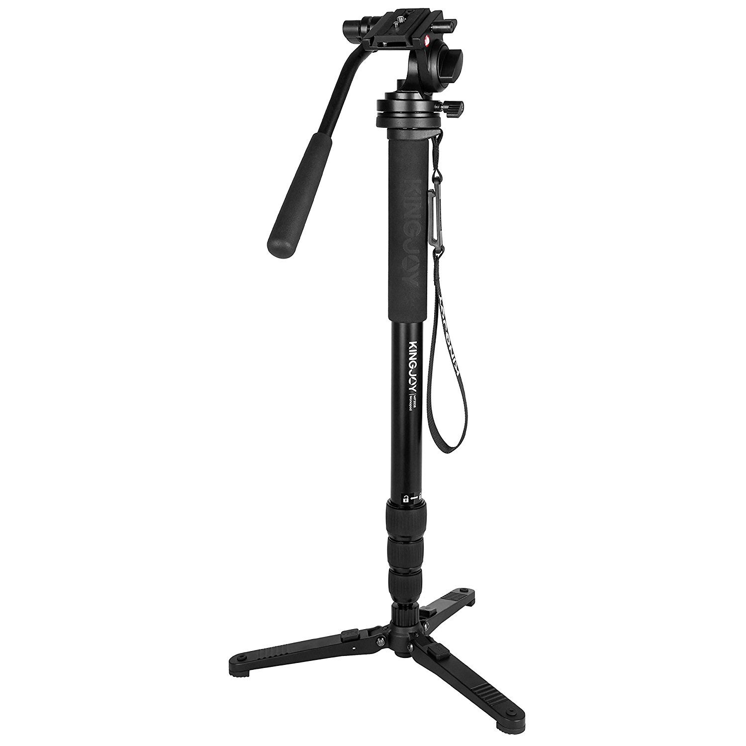 Kingjoy MP Series Video Monopod Tripod 4-Section Twist Lock Telescoping Legs with Fluid Damping Head and Folding Three Support Stand Base Compact Black MP3008+VT-3510