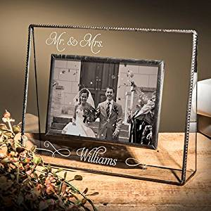 J Devlin Pic 319-57H EP503 Personalized Mr and Mrs Wedding or Anniversary 5x7 Glass Picture Frame Horizontal Landscape Photo Frame