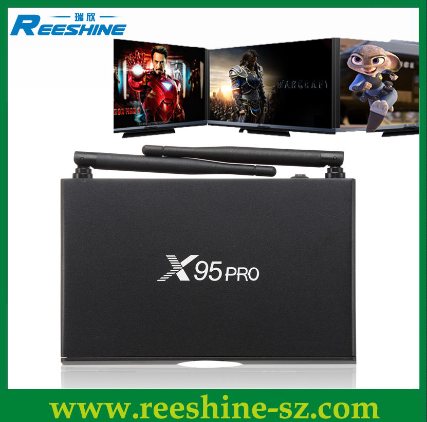 shenzhen set top box x95 pro amlogic s905x android 6.0 tv box 2g 16g dvb t2 aluminium case