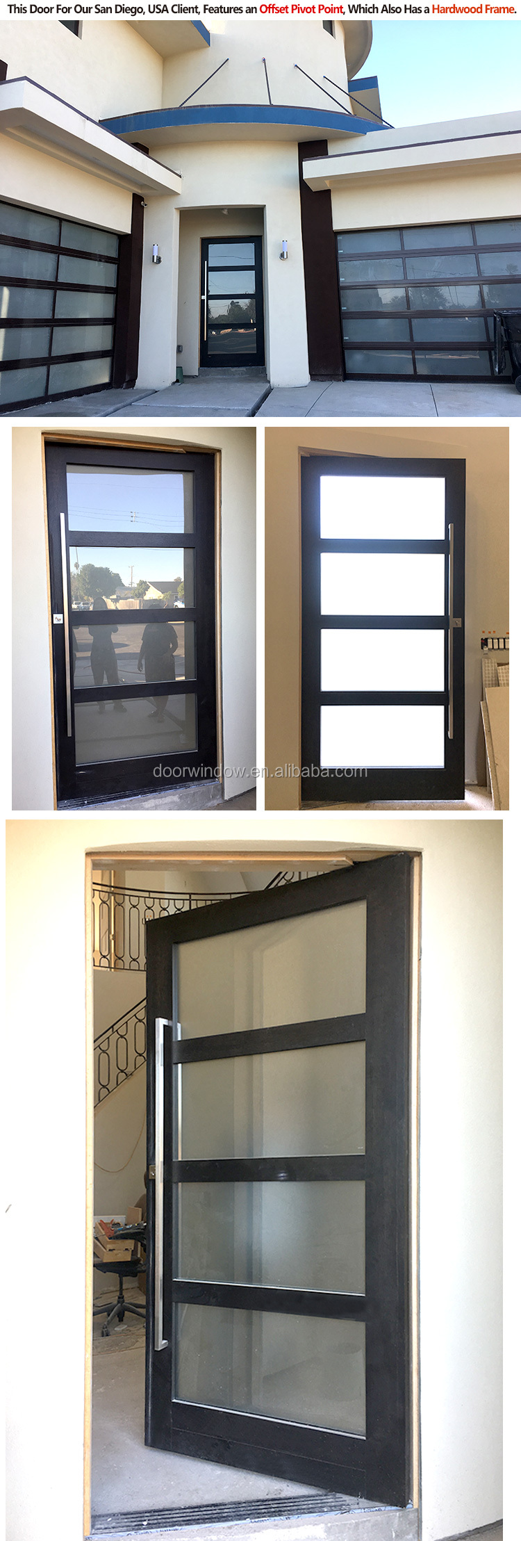 External doors aluminium swing exterior frameless glass aluminum door with