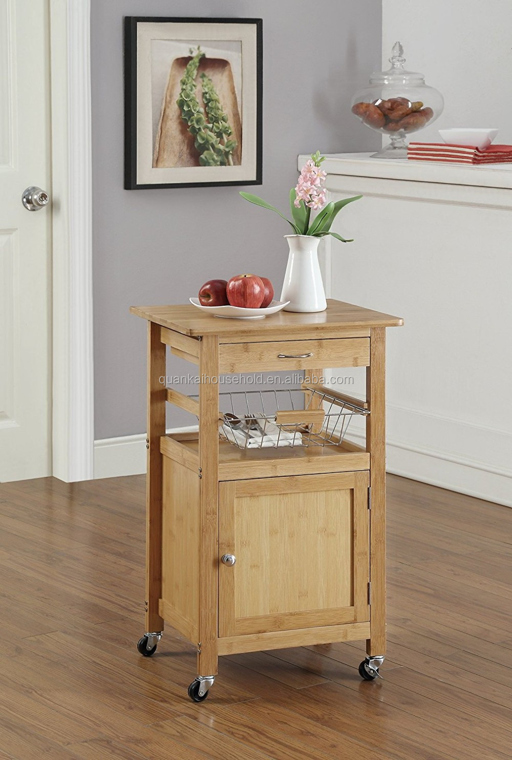 Natural Bamboo Rolling Kitchen Trolley Cart Storage Shelf Drawers Basket Dining
