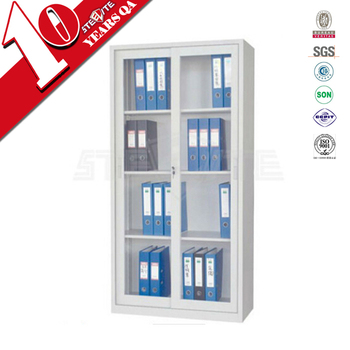 white steel file cabinet with glass doors flat packing metal sliding door cupboard - Cabinet With Glass Doors
