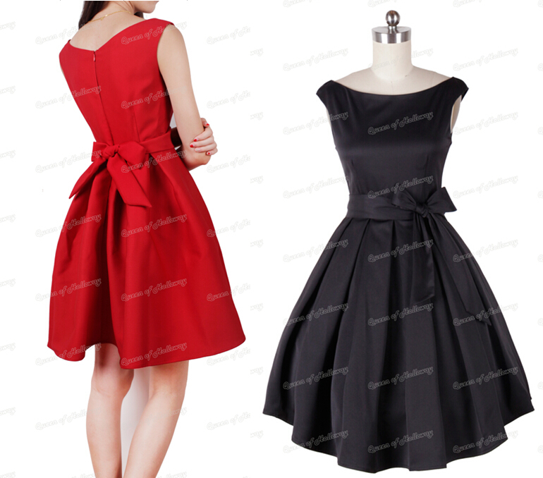 0109-1950s Rockabilly audrey hepburn pinup retro women's sexy swing party/ball/evening dress/vestidos in red/black plus size