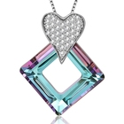 XUPING S139-30354 Square Link Crystals from Swarovski heart rhombus geometry pendant wholesale crystal necklace