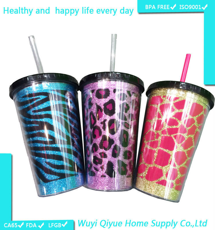 alibaba china 3D paper insert starbucks tumbler, Plastic Tumbler with Straw