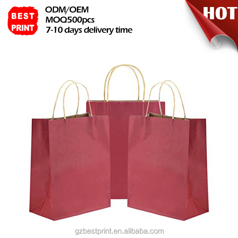 Recycled custom grocery laminated fast food coloring natural valve paper cement heat seal kraft shopping packaging bag