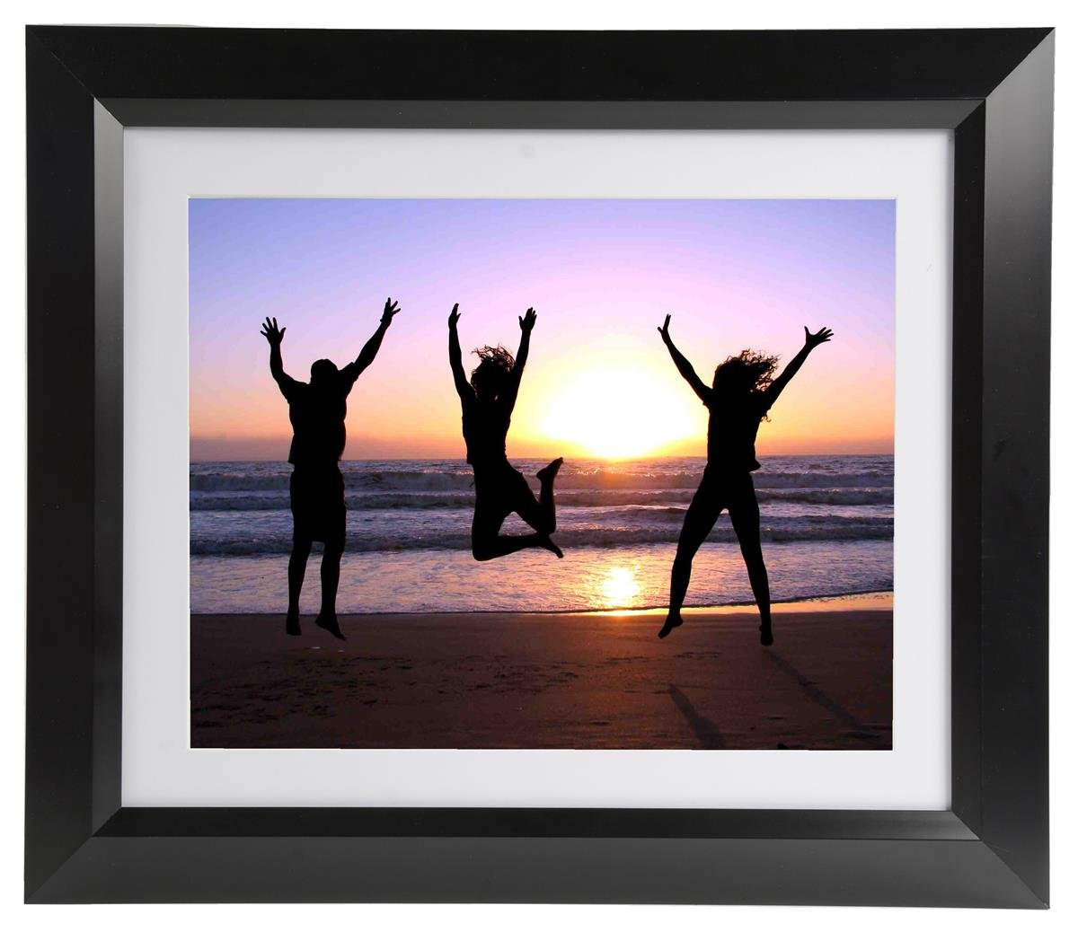 """Set of 3 - Matted 11x14 Photo Frame for Wall Mount Use, Black Plastic Picture Holder with Removable White Mat - 17"""" x 20"""" x 0.875"""""""