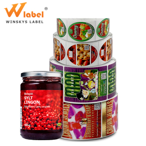 transparent print adhesive glass bottle food label jam sticker roll