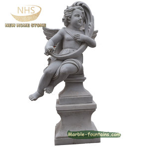 home decor carved boy angel marble small statue