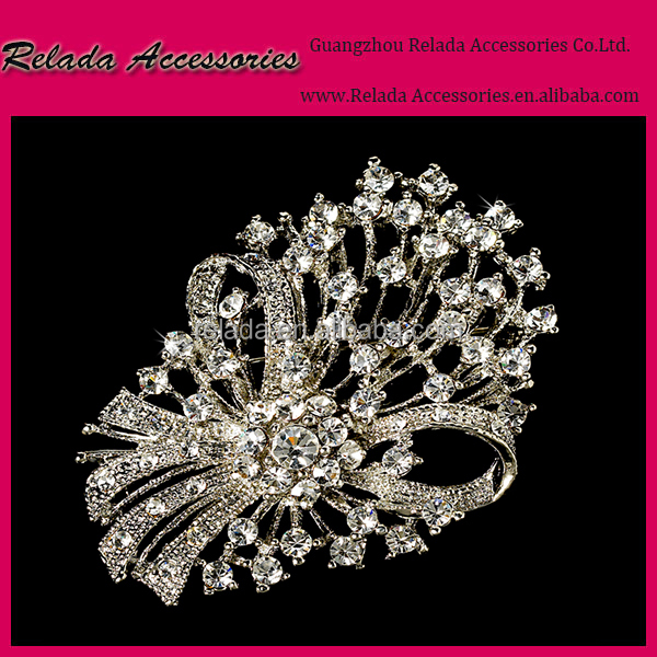 Factory wholesale High quality Charming Clear Rhinestone brooch pin for wedding decoration chair covers and table coverRLD2435RB