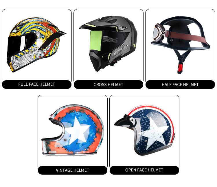 Factory Direct Sales ECE Retro fiberglass vintage motorcycle helmet