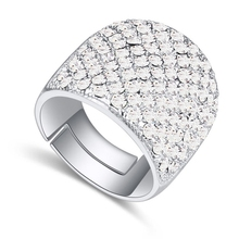 Anillos de boda para hombre y mujeres por con Swarovski Elements cristal austriaco anillos de Punk Rock de la joyería 5 colores