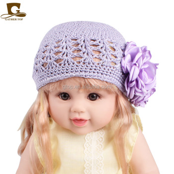 Gilrs Flower Cotton Kufit Hat Crochet Beanie Kids Headband - Buy ...