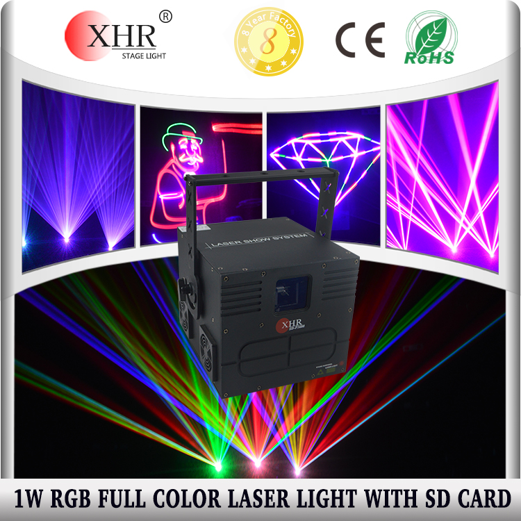 1000mw 1w full color animation sound system laser light dj equipment with sd