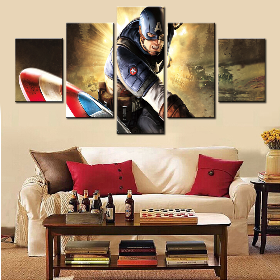 Home Decor Cool Captain America 5 Pcs Wall Art Modern Picture Painting Canvas Picture Gift Painting Supplies Hang Art Frame