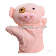 Lovely stuffed making plush hand handmade pink pig puppet for sale