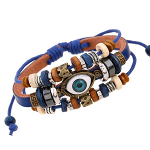 Europe And The United States Unisex Bead Leather Bracelets With Evil Eye