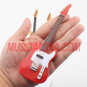 Miniature red electric guitar wooden crafts musical instrument christmas ornament