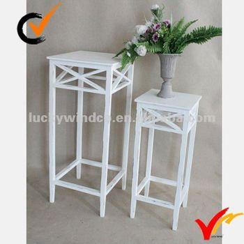 Square White Indoor Antique Wooden Whole Plant Stands