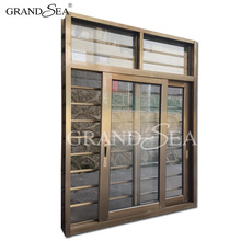 Clear glass champagne color cheap aluminum sliding window with security bars